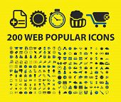 200 popular website, internet, business, media, document office, travel, mobile icons, signs, symbol