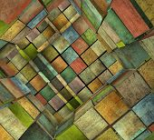 3d fragmented tiled mosaic labyrinth in multiple color