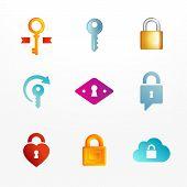 Vector logo icons set based on key and secure lock symbols.