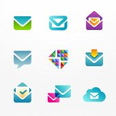 Icons and logo set based on envelope symbol. Collection of colorful e-mail signs.