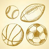 Soccer, American Football, Baseball And Basketball Ball