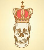Sketch Skull In Crown,  Vintage Background