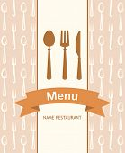 menu banner with spoon, fork and knife