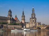 image of trinity  - Dresden Cathedral of the Holy Trinity aka Hofkirche Kathedrale Sanctissimae Trinitatis in Dresden Germany seen from the Elbe river - JPG