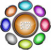 Enter. Internet icons. Raster illustration.