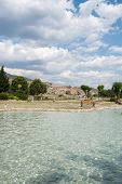 stock photo of cleopatra  - Ancient Cleopatra source water in Pamukkale - JPG