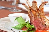 picture of lamb chops  - roasted lamb rib chops with vegetables - JPG
