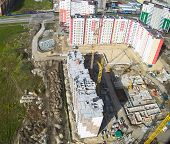 Bird's eye view on construction site in Tyumen