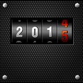 2015 New Year Analog Counter on metal plate detailed vector