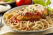 foto of chicken  - Homemade Italian Chicken Parmesan with Cheese and Sauce - JPG