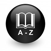 dictionary black glossy internet icon