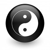 ying yang black glossy internet icon