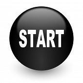 start black glossy internet icon