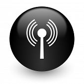 wifi black glossy internet icon