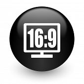 16 9 display black glossy internet icon