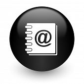 address book black glossy internet icon