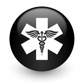 emergency black glossy internet icon
