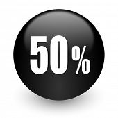 50 percent black glossy internet icon
