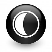 moon black glossy internet icon