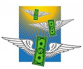 Winged dollar banknotes.