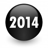 year 2014 black glossy internet icon