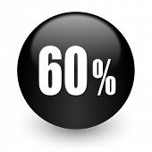 60 percent black glossy internet icon