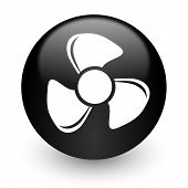 fan black glossy internet icon
