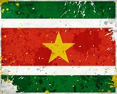 image of suriname  - Grunge Surinam flag with stains  - JPG
