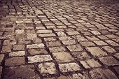 A cobblestone road in Dublin, Ireland.