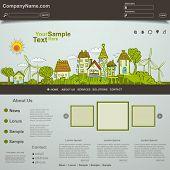 Eco website template design, vector