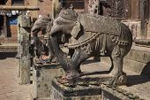 Statues Of Elephants In Changu Narayan - The Oldest Temple In The Kathmandu Valley