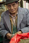 Sucre, Bolivia - January 19, 2012: A Coca Leaf Street Vendor, A Century Tradition In The Bolivian Cu