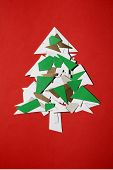 Christmas tree of cut paper