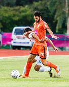 Sisaket Thailand-july 13: Victor Amaro Of Sisaket Fc. (orange) In Action During Thai Premier League