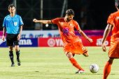 Sisaket Thailand-july 13: Victor Amaro Of Sisaket Fc. (orange) Shooting The Ball Thai Premier League
