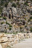 pic of rock carving  - Lycian rock cut tombs carved into the hillside of Myra Turkey - JPG