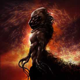 picture of underworld  - Walking alien monster profile with fire background fantasy illustration - JPG