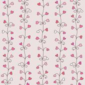 Vertical seamless pattern with hearts in retro style.