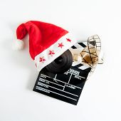 Santa Claus Hat On A Movie Clapper Board