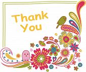 picture of thank you card  - Illustration of thank you card with floral and bird - JPG