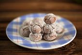 Homemade Chocolate Ball Biscuits On A Blue Plate