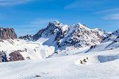 Ski Area on a background of mountains.