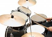 stock photo of drum-set  - Drum and bass set in closeup on white - JPG