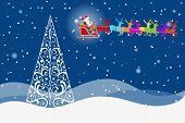 Ornate pine Christmas tree with colorful Santa and reindeer  beautiful night sky (layered)