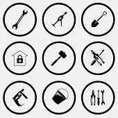 Industrial tools set. Black and white set vector icons.