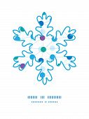 Vector connected dots Christmas snowflake silhouette pattern frame card template