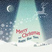 Wonderful Christmas Landscape. Calm Winter Scene Illustration