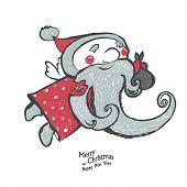 Hand-Drawn Santa on white