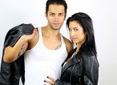 perfect couple dressed in a leather jacket