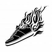 illustration with silhouette of running shoe icon background